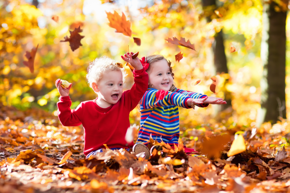 Herbst in der Kita, Kinder spielen mit Blättern, Kinder spielen im Herbst