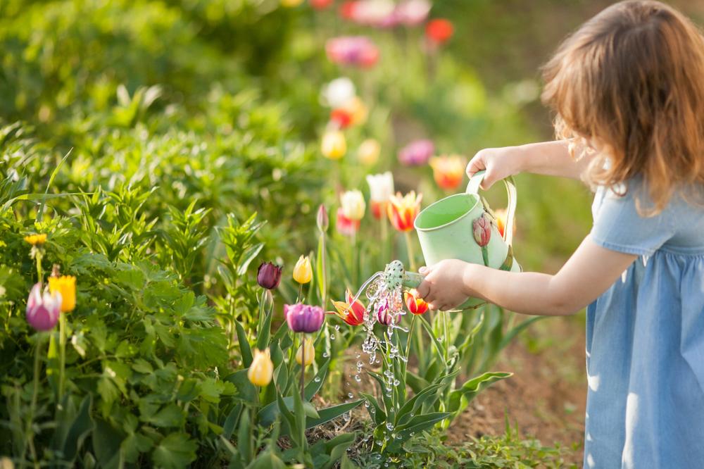 Frühling in der Kita, Kind macht Gartenarbeit, Kind pflanzt Tulpen, Frühling im Garten